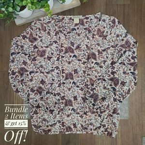 Lucky Brand Sheer Paisley LS Top